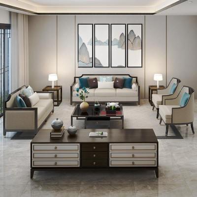 枳记家 新中式实木沙发组合现代简约客厅样板间会所布艺沙发禅意定制家具