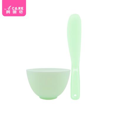 綠色硅膠2件套 1套#面膜碗套裝面膜刷子美容調膜棒DIY專業自制涂面膜工具大小號量勺