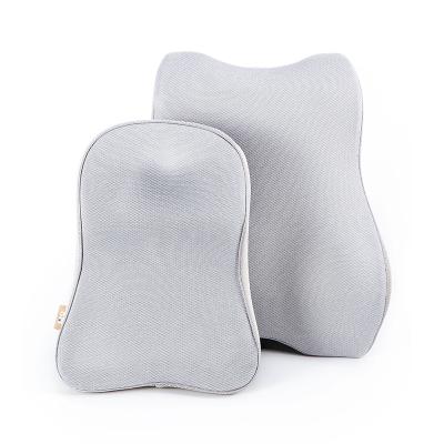 8H記憶綿人體工學頭枕和3D曲線腰靠套餐