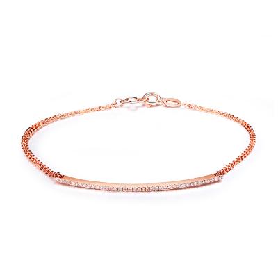 珂兰 玫瑰色18K金钻石手链时尚排钻手链 情思 需定制