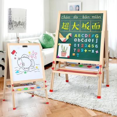 兒童畫板雙面磁性小學生黑板畫架支架式涂鴉白板寶寶智扣家用寫字板雙面畫板-實木升級F款【功能禮包】108高度