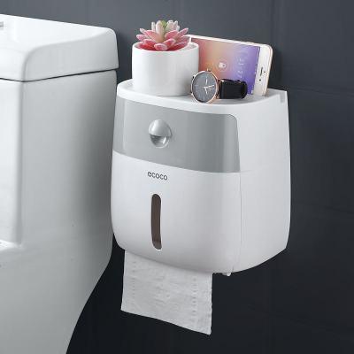卫生间纸巾盒厕所卫生纸置物架厕纸盒免打孔防水卷纸筒创意抽纸盒 半透灰+白