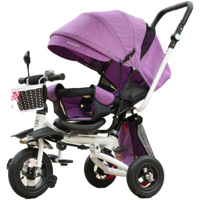 金鳴(JINMING) 兒童三輪車1-3-6歲嬰兒手推車兒童腳踏車旋轉座椅 折疊可躺 自行車