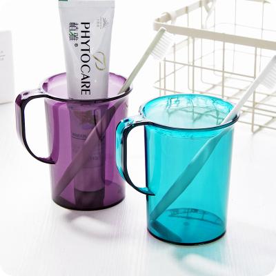 【蘇寧好貨】創意透明洗漱杯帶手柄塑料刷牙杯子水杯簡約情侶漱口杯牙刷杯牙缸 透明深紫