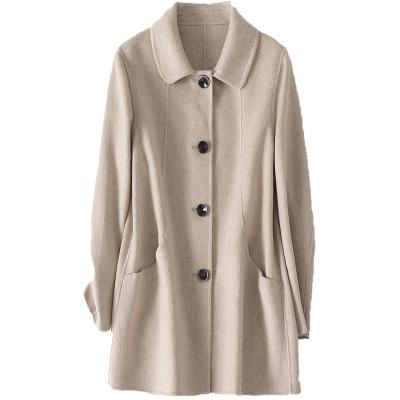 憨厚皇后羊毛雙面毛呢外套女春秋時尚新款呢子大衣中長款休閑