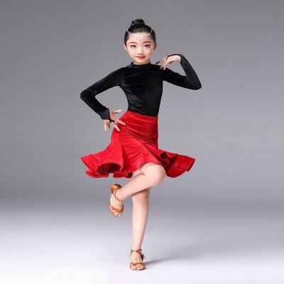 兒童拉丁舞服秋冬裝女童金絲絨分體拉丁裙短袖練功服比賽表演出服