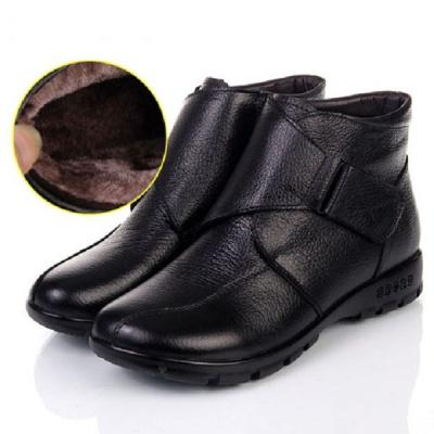 牛皮防滑中老年棉鞋女短靴坡跟高帮妈妈棉皮鞋平跟大码保暖女冬鞋 纤婗(QIANNI)