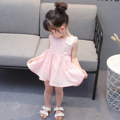 新款清新童裙女童夏装裙子中大童儿童花朵连衣裙公主吊带裙涤纶 莎丞