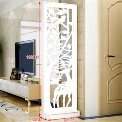 符象屏風隔斷客廳玄關柜現代時尚移動廳裝飾柜鏤空花櫥窗背景 地臺款生財有鹿190*60一扇 組裝