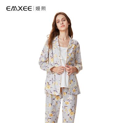 嫚熙(EMXEE)春夏月子服孕妇睡衣纯棉产后家居服哺乳衣纱罗喂奶三件套