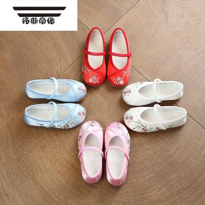 女童布鞋兒童手工繡花鞋刺繡童鞋復古小布鞋女寶寶漢服鞋子小白鞋
