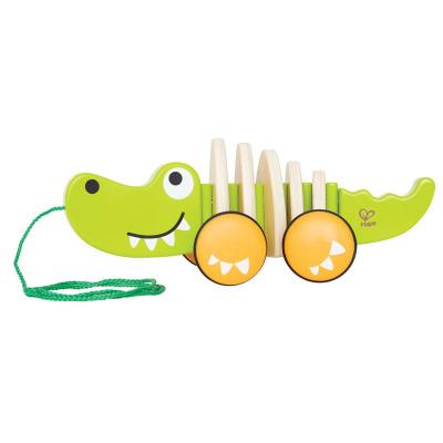 Hape拖拉鱷魚益智兒童玩具拖拉玩具全身搖擺年齡段1歲以上兒童寶寶木制益智學步手拉玩具男孩女孩玩具