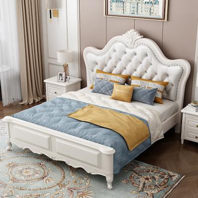 一米色彩 床 双人床实木床公主床欧式床架橡胶木1.8米2.2米高箱床木质主卧美式轻奢软靠包 卧室家具
