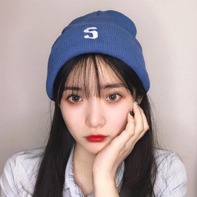 HKLM明星同款韓版秋季刺繡針織帽女潮人百搭薄款冷帽男學生情侶毛線帽
