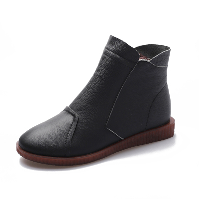 雅夢纖足女鞋秋冬季真皮加絨短靴女靴子平底中老年皮鞋媽媽鞋老人棉鞋