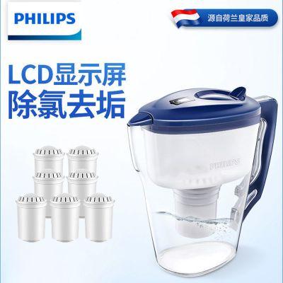 飛利浦 凈水壺家用除氯凈水器廚房自來水過濾器濾水壺凈水杯WP2807(一壺六芯)