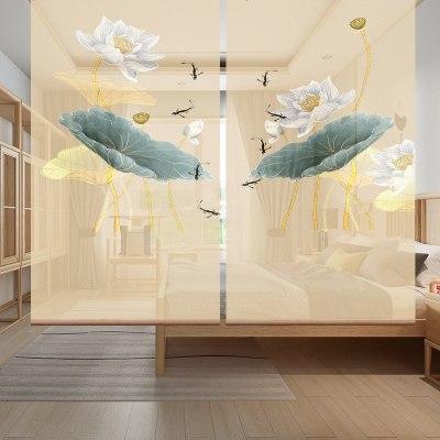 现代中式玄关客厅书房酒店卧式隔断半透时尚挂屏-莲藕同根
