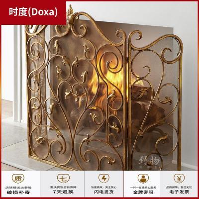 蘇寧放心購客廳歐式壁爐屏風防火欄壁爐芯嵌入式帶網鐵藝隔斷鏤空裝飾壁爐架時度(Doxa)