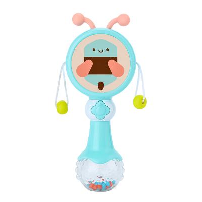 貝恩施早教益智嬰兒玩具 新生兒寶寶手搖鈴音樂 撥浪鼓1-12個月 節奏撥浪鼓藍色