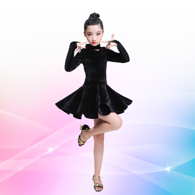 春秋季新款儿童长袖丝绒拉丁舞裙女童舞蹈练功服少儿拉丁舞演出服