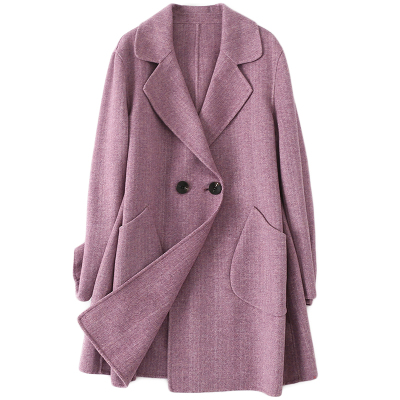 憨厚皇后雙面毛呢外套女春秋時尚新款羊毛呢子大衣中長款休閑潮流