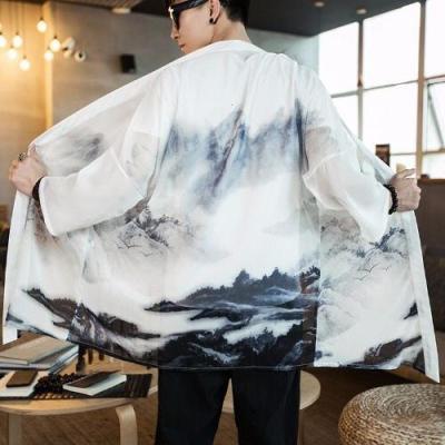中式唐装改良汉服中国风男装居士披风外套民族风古装道袍衣夏长衫 衫伊格(shanyige)