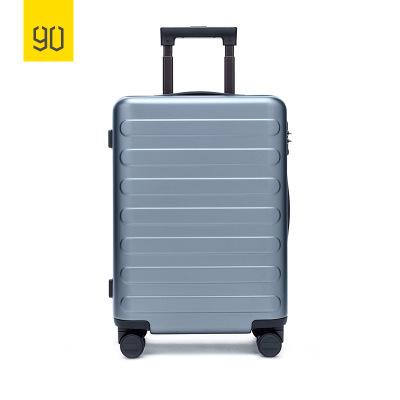 90分商旅兩用旅行箱靜音萬向輪商務登機行李箱子 男女密碼拉桿箱 24寸 湖光藍