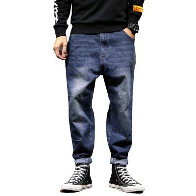 吉普戰車JIPUZHANCHE男裝春季新款牛仔褲男中腰彈力寬松束腳休閑哈倫褲男士牛仔褲九分褲子