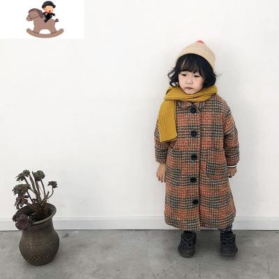 女童呢子大衣千鸟格男童2019新款洋气秋冬宝宝加绒厚儿童毛呢外套  YueBin