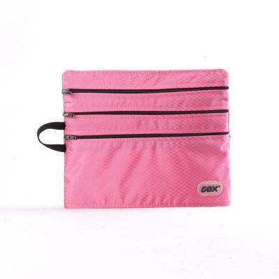 GOX 登机四拉链袋 户外旅行杂物收纳包 登机包 行李小包 收纳袋 粉色