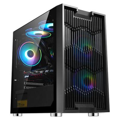 先馬(SAMA)平頭哥M7 游戲電腦小機箱 前板鏤空散熱/鋼化玻璃側透/支持M-ATX主板/U3/背線/電源倉