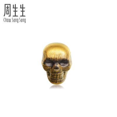 周生生(CHOW SANG SANG)足金Noir系列Noir骷髏頭單只黃金耳釘女88192E定價