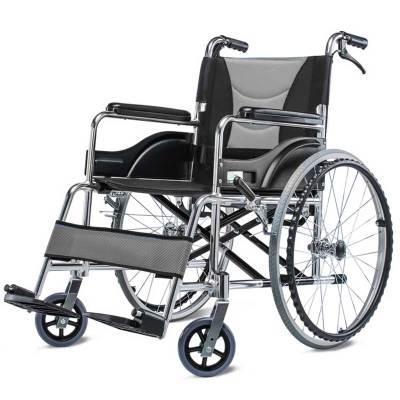 可孚輪椅折疊輕便手動輪椅車鋁合金老人普通輪椅坐墊帶手剎便攜輪椅車踏春代步車助行高雅灰帶手剎【折疊穩固】Cofoe
