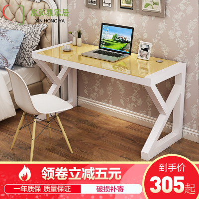 欣弘雅家居(XIN HONG YA)简约现代台式电脑桌带键盘托书桌家用学生学习桌子钢化玻璃办公桌卧室经济型写字台A023