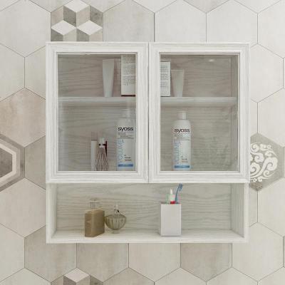 杞沐太空鋁浴室吊柜防水衛生間墻壁柜透明玻璃墻上儲物柜廚房櫥柜定制