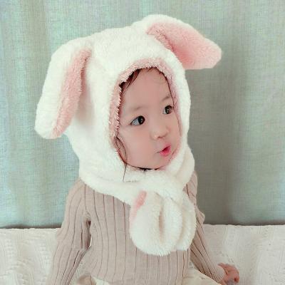 热卖宝宝帽子护耳帽可爱婴幼儿围脖儿童秋冬男童女童帽毛绒围巾一体潮