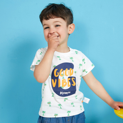 【99元4件】moomoo童裝男童下裝夏季新款幼童純棉休閑翻領圓領短袖t恤