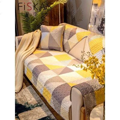 菲詩卡簡約現代沙發墊套子四季通用布藝坐墊家用防滑全包罩巾 染卡 70*150cm
