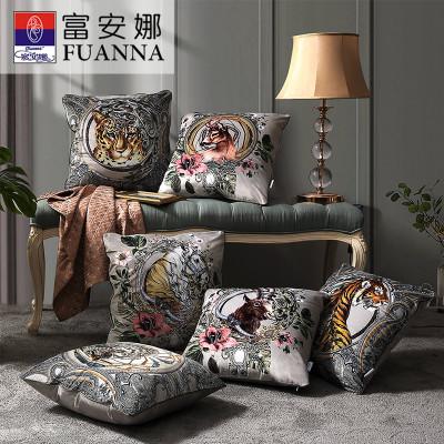 富安娜(FUANNA)家紡北歐客廳沙發抱枕靠墊靠背辦公室汽車護腰靠枕套正方形枕頭