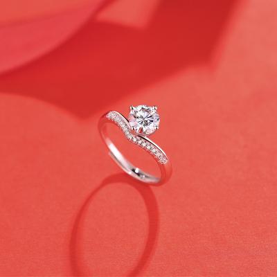 【錢掌柜】公主皇冠戒指 進口D色一克拉莫桑石純銀戒指時尚飾品經典網紅潮人同款