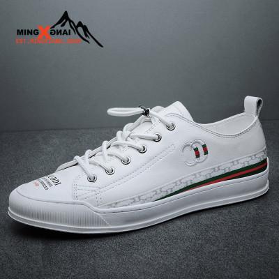 MINGXIANG2020夏季新款小白鞋真皮板鞋男頭層牛皮鞋子男鞋歐美板鞋韓版潮流休閑百搭