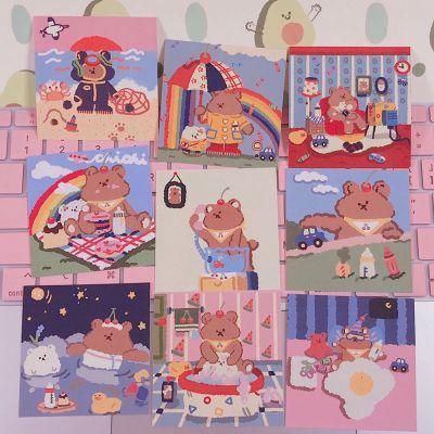 韓國明信片可愛軟糖小熊卡通手賬裝飾卡片INS風賀卡拍照道具卡片