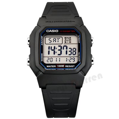 卡西欧CASIO手表Regular普通系列黑色户外运动休闲数字W-800H-1A W-96H电子表 男士100m防水