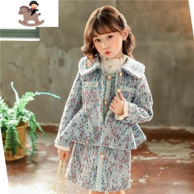 女童花色呢子外套氣質款秋冬裝單排扣上衣公主風兒童毛呢大衣時尚  YueBin