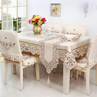 靜欣家居鏤空繡中式圓形長方形餐桌布布藝茶幾墊餐桌墊椅套電視柜布餐布臺布