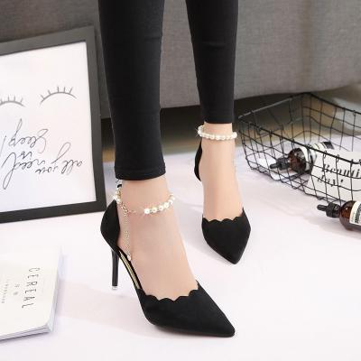 春秋新款高跟鞋女尖頭黑色性感一字扣細跟單鞋紅色婚鞋女鞋 TCVV