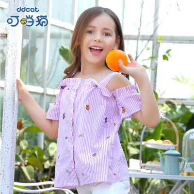 叮當貓童裝女童韓版襯衫中小童時尚夏裝甜美上衣可愛吊帶短袖衫