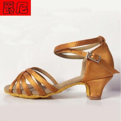 少儿拉丁舞鞋女童小高跟舞蹈鞋中跟练功鞋儿童女孩跳舞鞋4cm