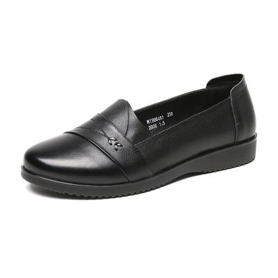 紅蜻蜓女鞋春季休閑鞋防滑軟底鞋媽媽鞋頭層牛皮中老年軟底皮鞋潮
