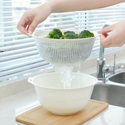 閃電客雙層洗菜盆瀝水籃家用圓形塑料簡約現代客廳瓜果盤淘米盆水果籃子